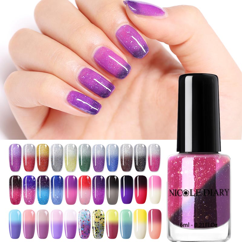 NICOLE DIARY  Nail Polish Thermal Glitter Chameleon Temperature Color Changing  Varnish Gradient Nail Varnish