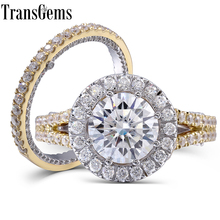 TransGems Solid 14K White and Yellow Center 3 Carat 9mm F Colorless Moissanite Engagement Wedding Ring Set with Accents 2 Pieces