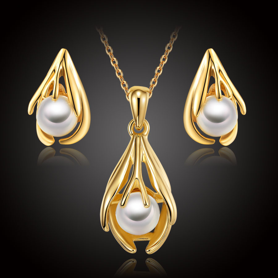 Imitate Pearl Jewelry Sets For Women Dubai Gold Color Fashion African  Costume Wedding Bridal Girls Necklace