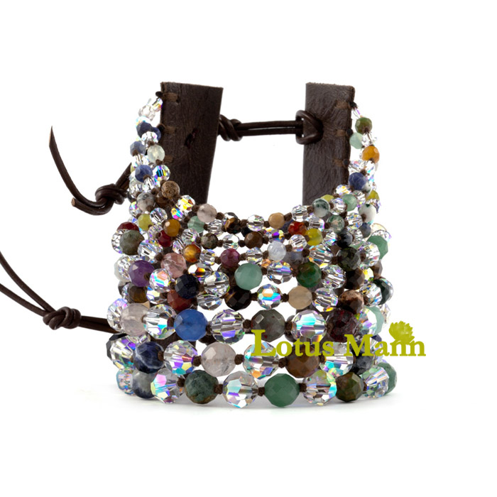 Natural cl10 12 constellation brown leather multi-colored stone crystal bracelet sitemap xml