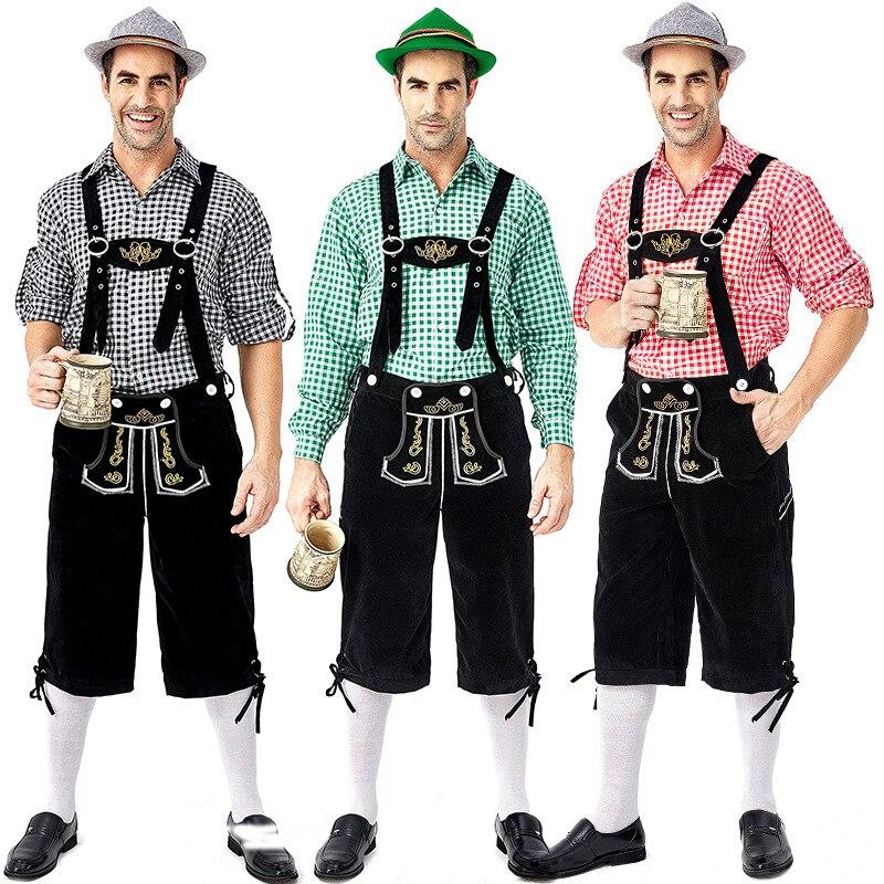 Men's Oktoberfest Lederhosen With Suspenders Hat Costumes Set For Man Party Cosplay Waiter Farmer Game Costumes Size M -2XL