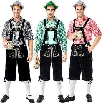 Degli uomini Oktoberfest Lederhosen con Bretelle Costumi Cappello Set Per Uomo di Partito Cosplay Cameriere Contadino Costumi di Gioco Taglia M- 2XL
