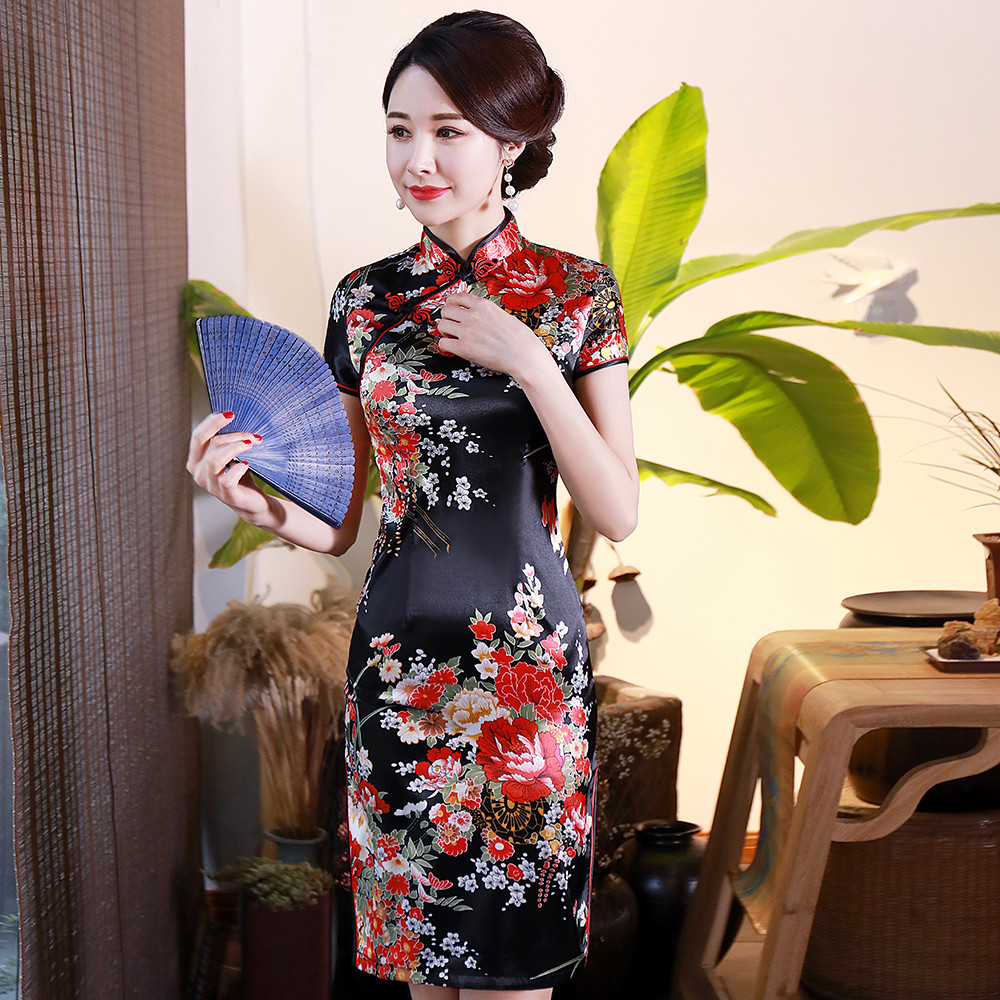 Elegant Women Satin Qipao Summer NEW Slim Short Sleeve Dress Traditional Chinese Style Mandarin Collar Cheongsam Vestidos 4XL