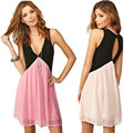 Sexy Women Summer Casual Sleeveless Evening Party Beach Dress Patchwork V neck Short Mini Dress