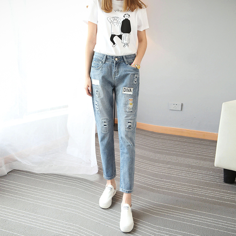 2016 baggy plus size jeans 5XL ripped jeans for women jean femme vaqueros mujer