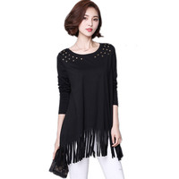 Feminine Stylish Tshirt Large Size Women Tops Loose 4XL Full Sleeve T Shirt Female Harajuku Tassel