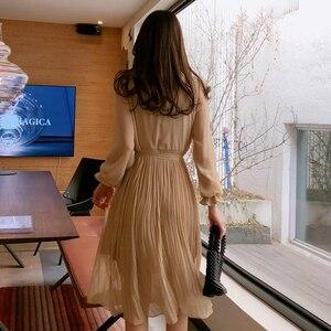Image 3 - BGTEEVER خمر س الرقبة الكشكشة الشيفون المرأة فستان مضيئة كم البولكا نقطة الدانتيل يصل فستان طبقتين مطوي Vestidos