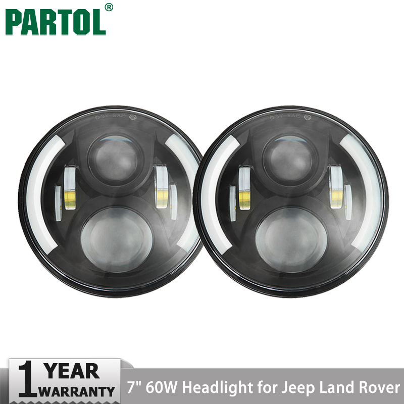 Partol 2Pcs 7 60W LED Headlight Projector H4 H13 Hi-Lo Beam Driving DRL Light for Jeep CJ Wrangler JK Land Rover Defender on sale 1pair 30w 7inch motorcycle projector led bulb headlight 6000k hi lo beam for jeep wrangler jk humm