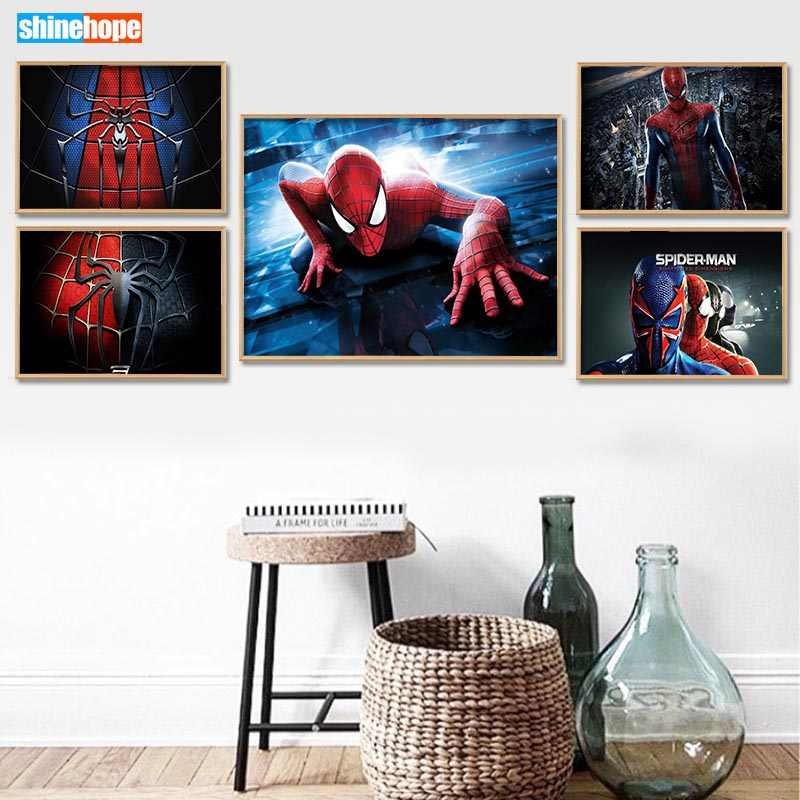 Spiderman Poster Custom Canvas Poster Art Home Decoration Cloth Fabric Wall Poster Print Silk Fabric 30X45cm,40X60cm
