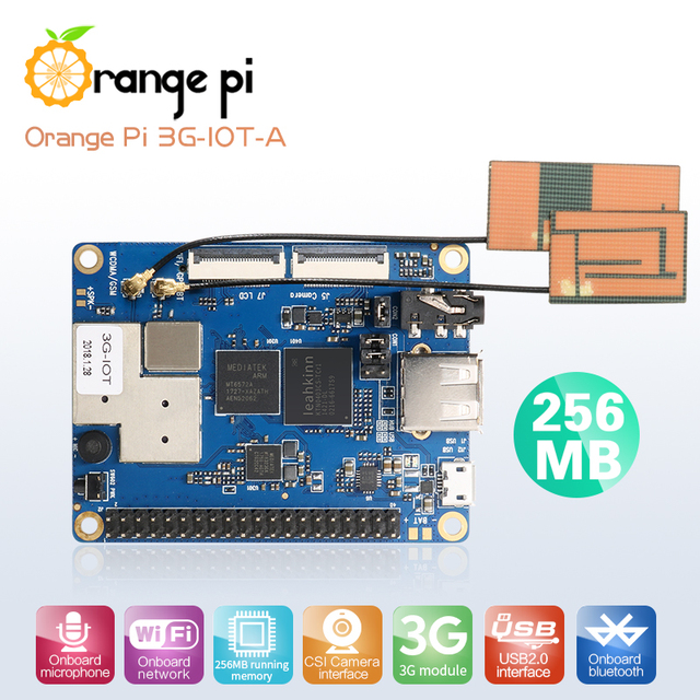Оранжевый Pi 3g-IOT-A 256 МБ Cortex-A7 512 МБ EMMC поддержка 3g sim-карты Bluetooth Android4.4 mini PC