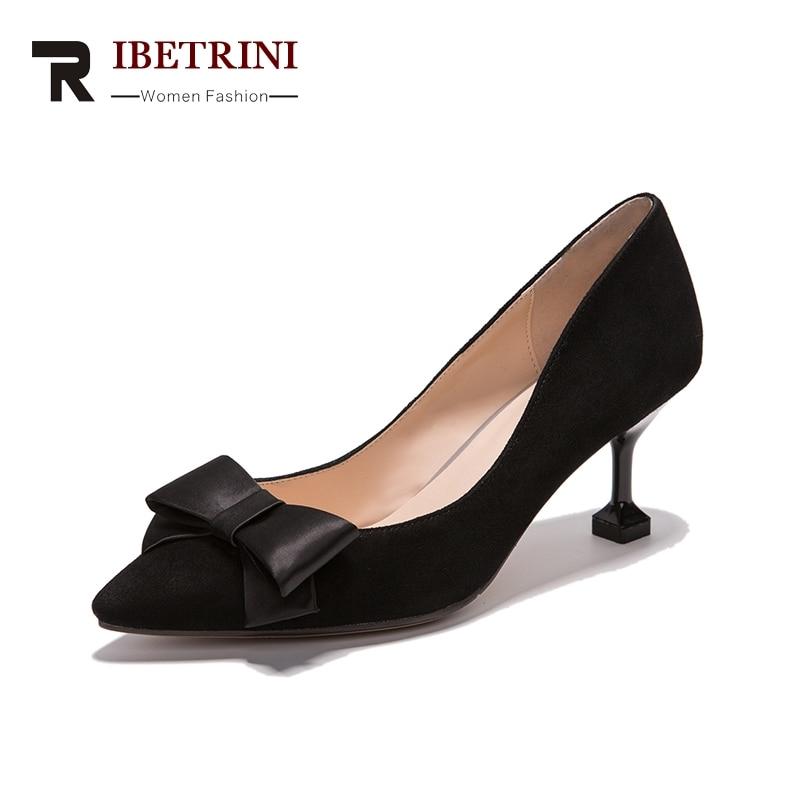 RIBETRINI Натуральная кожа 2018 малыш замши скольжения на Боути середины каблуки Женская обувь женщина указала носком насосы обувь Размер 34-39