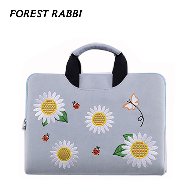Frosted PU waterproof laptop bag Embroidery pattern Handbag Laptop Sleeve for Macbook air 13.3 15.6Laptop bag for Women