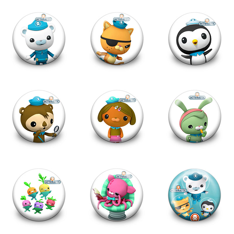 9pcs Cartoon Octonauts Badge 30mm  Icon Buttons Pin Badges Round Brooch Badge Clothes/Bags Accessory Kids Party Gift