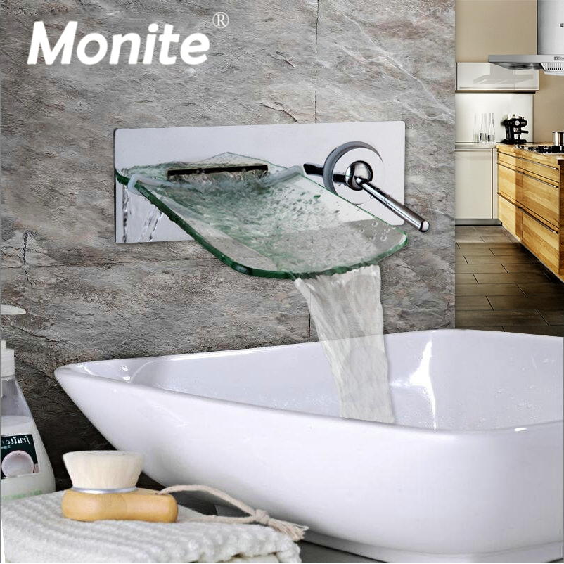 Monite Wall Mounted Waterfall Glass Spout Chrome Brass Bathroom Faucet Single Handle Hot And Cold Mixer