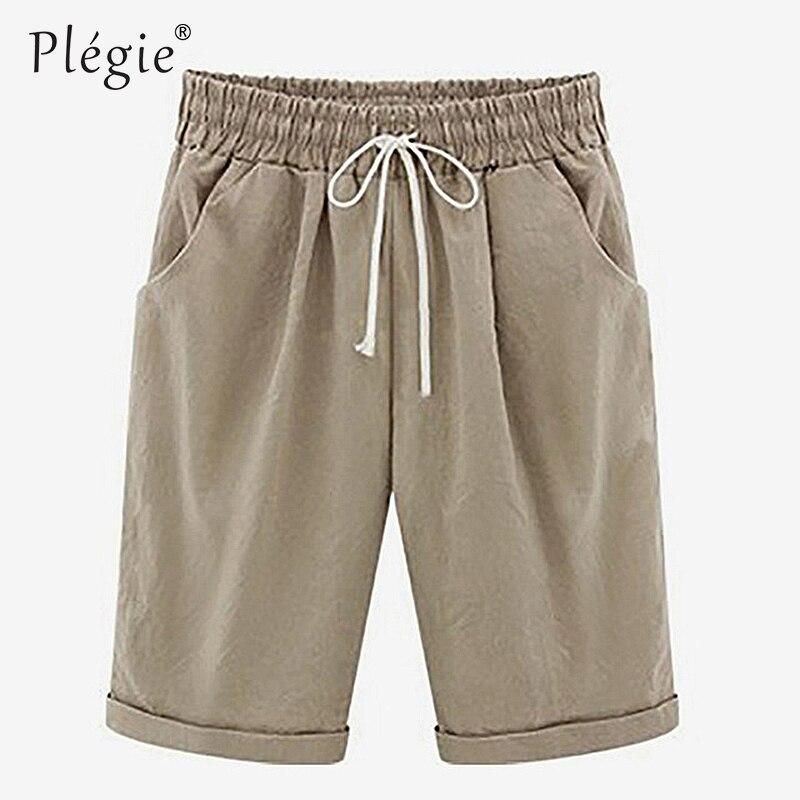 Plegie 2018 Summer Women Shorts Loose Straight Knee Length Shorts Comfortable Casual Shorts Pocket Plus Size 6XL Female Trouses