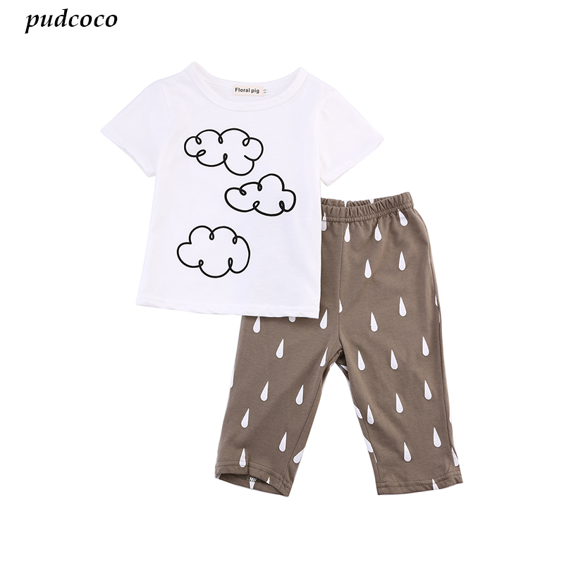 4a727880bb1 Baby Boys Cloud Top T shirt+Raindrop Pants 2pcs Outfit Cotton Newborn Kids Clouds  Summer outfits Clothes Set Clothing-in Clothing Sets from Mother   Kids on  ...