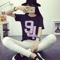 Corea 2016 nuevo verano estilo Harajuku suelta de manga corta Camiseta al por mayor del estudiante de mujeres 94 letras de la camiseta camisetas tops TS20