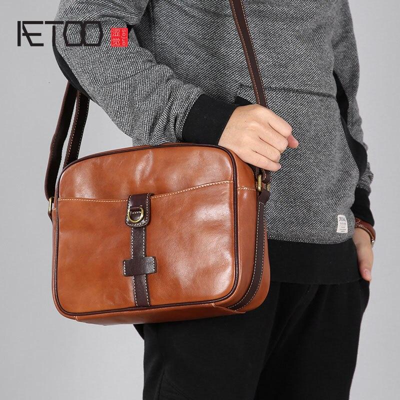 AETOO Original leather shoulder bag man Messenger bag casual retro hand-bag leather bag small student package male