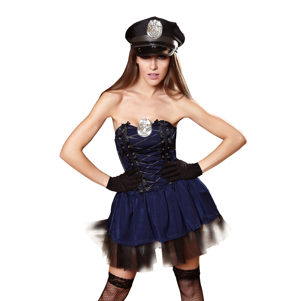Sexy Police Costume Dress Halloween Costume For Woman Cop -4751