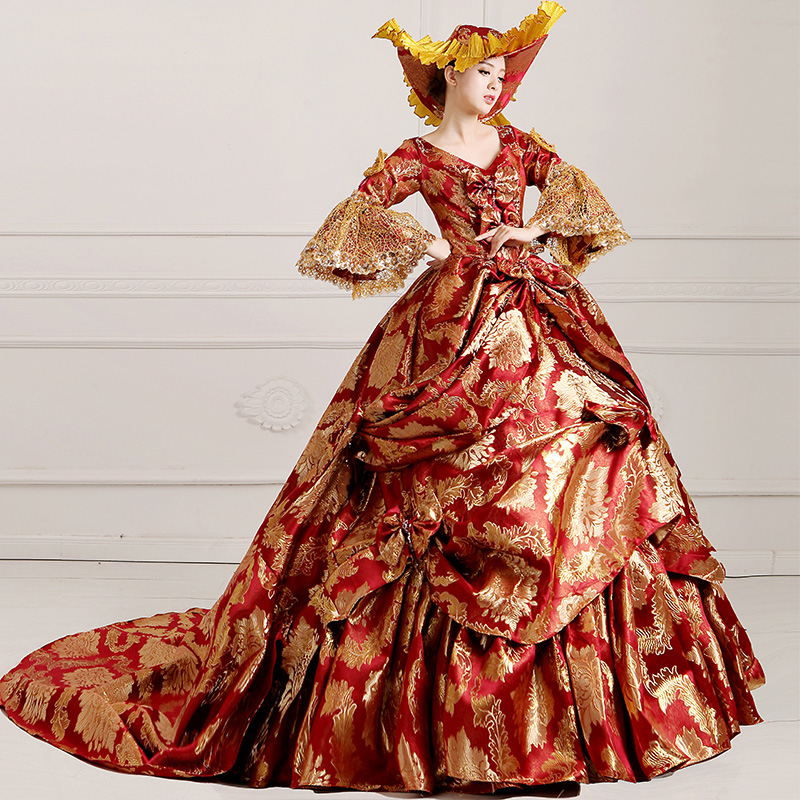 Ladies Medieval Renaissance Victorian Dresses Red Gold Masquerade Costumes Queen Ball Gowns For Ladies S-5XL