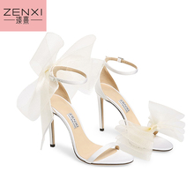 Aveline 100 mm sandals ZENXI New Style Flly Embrace Designs Du Jour With Asymmetrical Sandals Exaggerated Hand- Tied  Bows