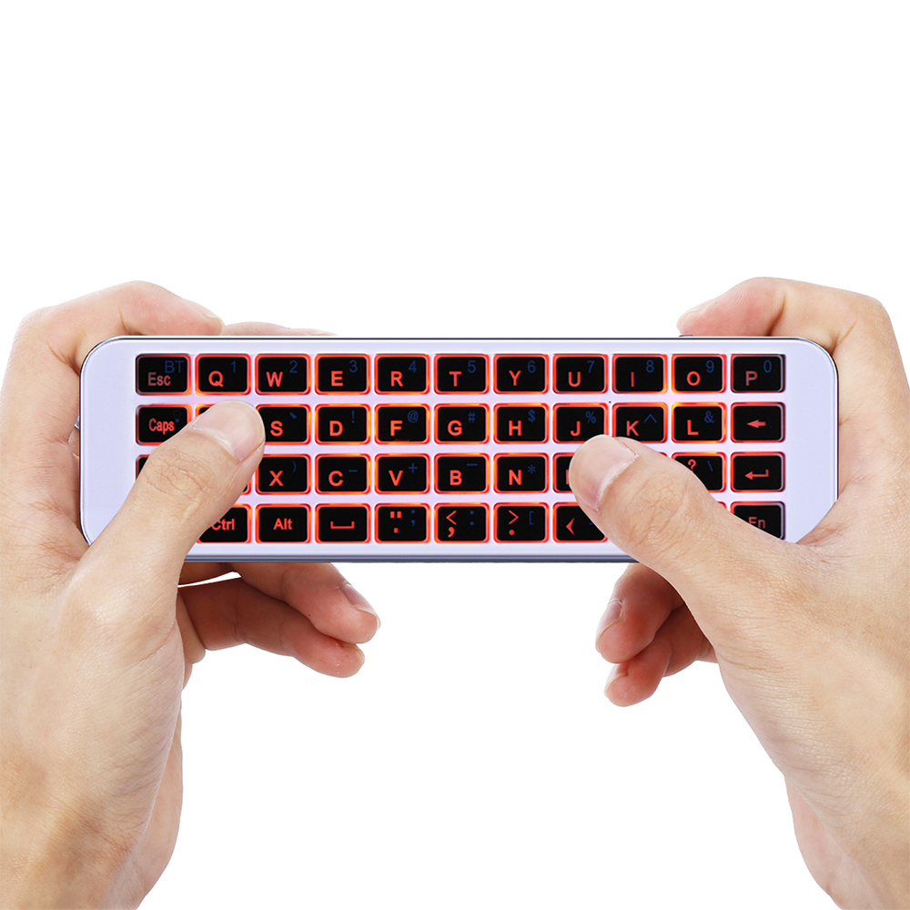 iPazzPort KP-810-30BL Mini Wireless Keyboard Red Backlight Remote Control for Android Linux Mac OS Windows