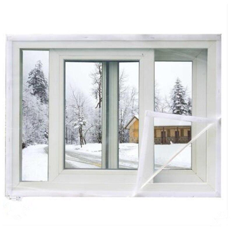 Купить с кэшбэком 200*180 cm Aluminum Alloy Window Insulation Film Self-adhesive Windproof Dustproof Seal Zipper Curtain Large Size