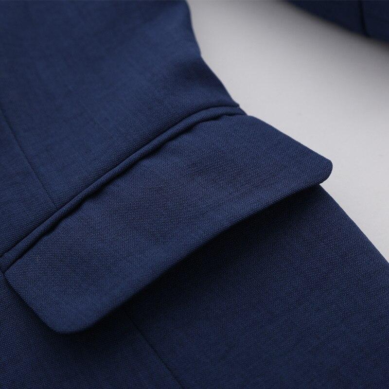 HanOrange Slim 3 Quarter Sleeve Single Button Pocket OL Women Blazer Jacket White/Dark Blue/Sky Blue S/M/L/XL/XXL/XXXL