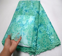 African Fabric Lace 2019 Light green organza lace fabric high quality sequin lace fabric for african wedding lace french lace