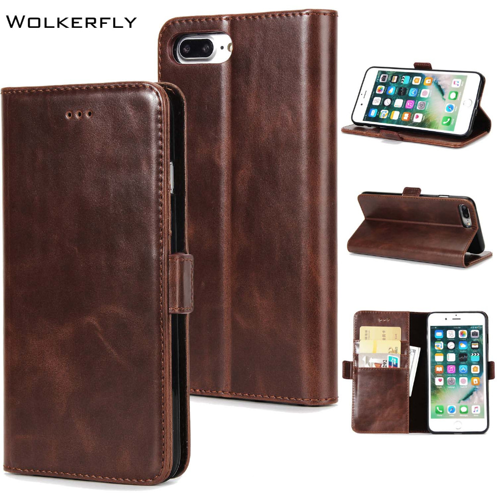 Business Retro Filp Phone Case for iPhone 8 7 6 6s Plus 5S X Phone Housing Luxury Card Slot Wallet Holster Leather Phone Cover