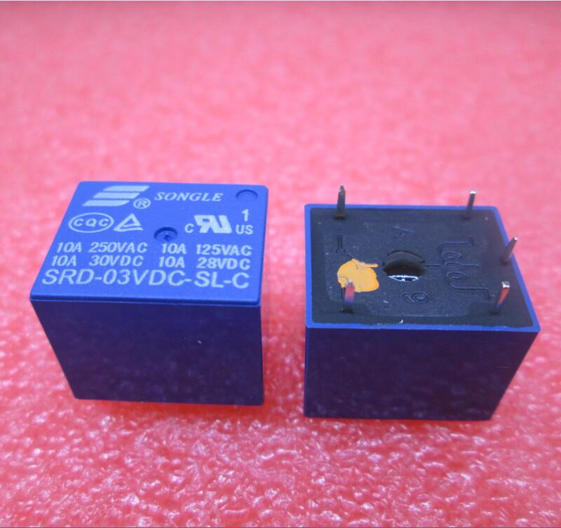 HOT NEW relay SRD-03VDC-SL-C SRD-03VDC SRD 03VDC-SL-C 3VDC 10A 250VAC T73 SONGLE DIP5 10pcs lot srd 5vdc sl c srd 5vdc srd 05v songle power relay dip 4 100