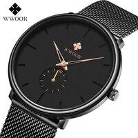 WWOOR новые мужские спортивные часы лучший бренд класса люкс ультра тонкие повседневные водостойкие спортивные часы кварцевые Стальные мужс