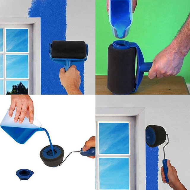Juego de Herramientas para rodillo de pintura DIY de 5/8 Uds., uso doméstico, mango decorativo de pared, herramienta de borde flocado, cepillo de pintura, rodillos de pintura