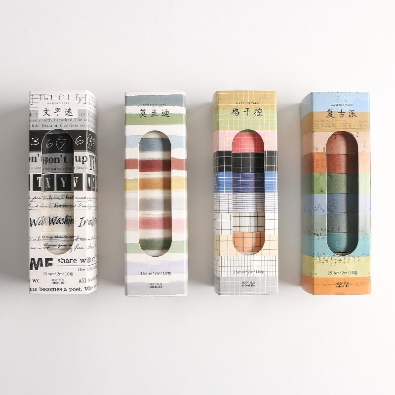 10pcs Vintage Manuscript Masking Tape 15mm Retro Morandi Color Washi Tapes Stickers Washitape Stationery School Supplies F196