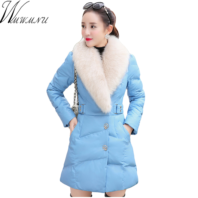 Wmwmnu Female slim Jacket Fashion Hooded Jacket Thick Long Jacket PU lether Parka Womens Quilted fur