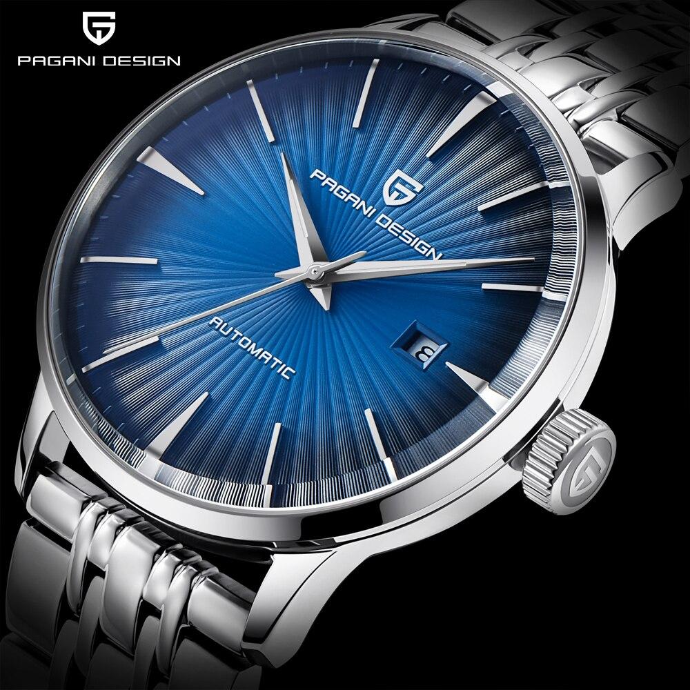 PAGANI diseño moda Casual hombres relojes mecánicos impermeable 30 m Acero Inoxidable marca de lujo automático de negocios reloj saat