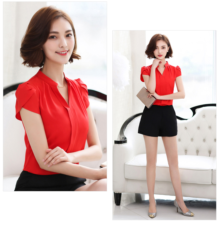 HTB1fY70hjnD8KJjSspbq6zbEXXap - Plus Size Blouse Women Summer Short Sleeve Red Office Ladies Chiffon Shirt elegant Work Top Casual Female Clothing