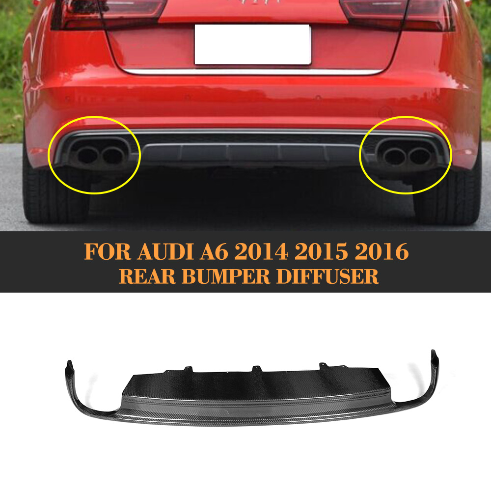 Carbon Fiber car <font><b>rear</b></font> bumper lip <font><b>diffuser</b></font> Exhaust Mufflers for <font><b>Audi</b></font> A6 standard Sedan 4 Door Only 2013-2015 Non S line <font><b>S6</b></font> image