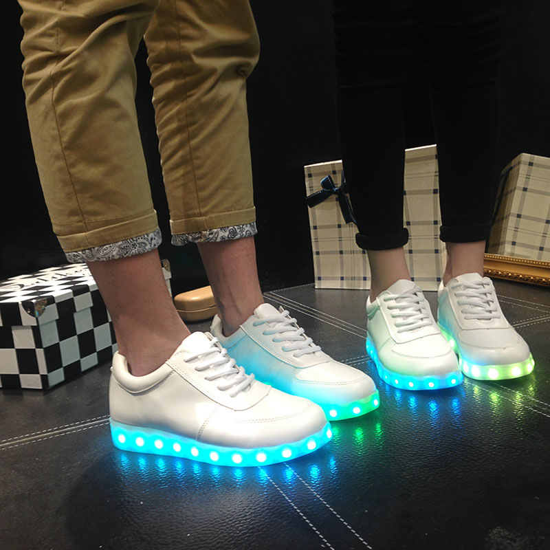 YPYUNA Luminous Led Neon Sneakers Light up Flashing Trainer Flasher glowing sneakers White Luminous Shoe with usb for Boy&Girl