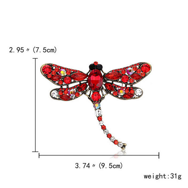 Wanita Kristal Dragonfly Bros Perhiasan Besar Berlian Imitasi Pin Bros untuk Wanita Pendant Handmade Logam Pin Lencana Bros A144