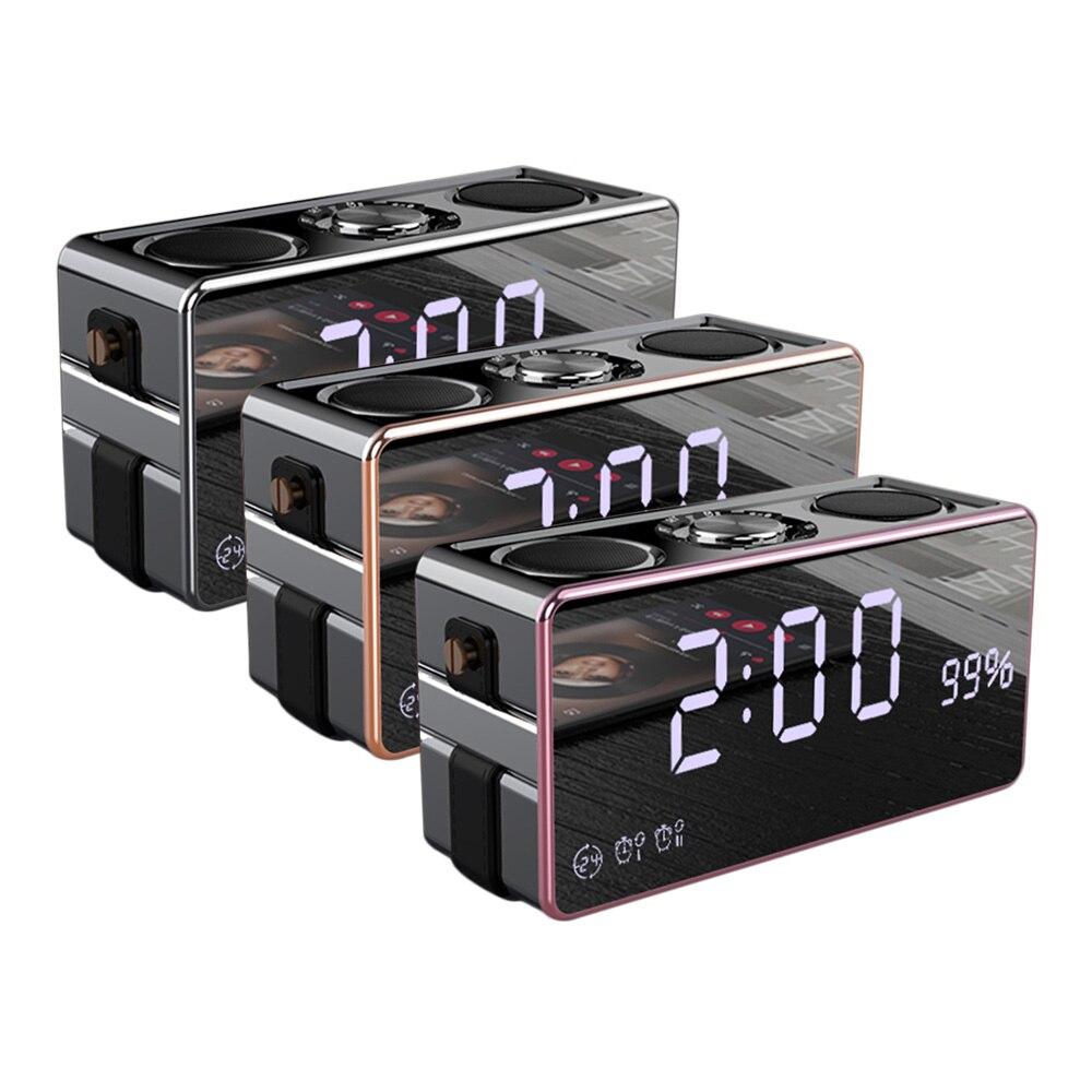 Soaiy Portable Magic Mirror Wireless Bluetooth Speaker Super Bass Subwoofer Soundbar Outdoor Loudspeaker Alarm Clock Sound Box
