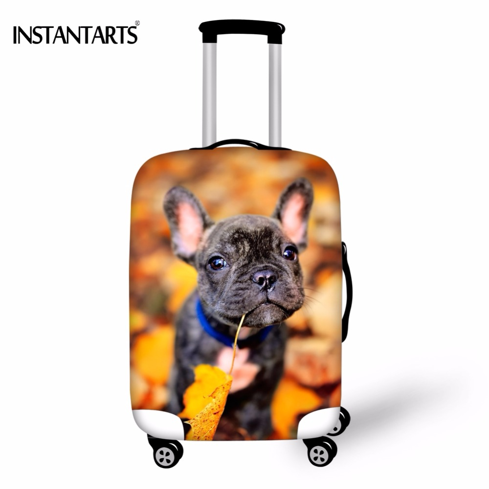 INSTANTARTS Thick Travel On Road Luggage Waterproof Covers For 18-30 Inch Suitcase 3D French Bulldog Print Case Dust Rain Cover