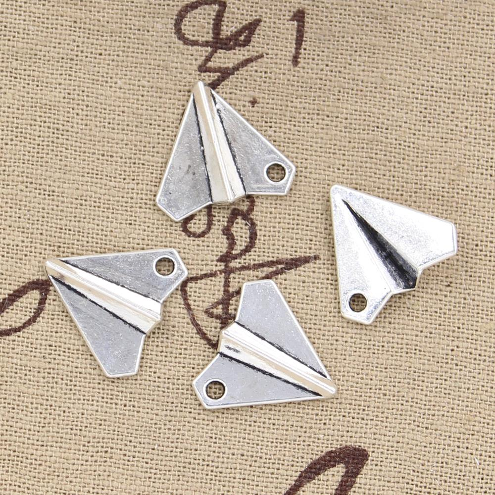 15pcs Charms Paper Airplane Plane  18x17mm Antique Bronze Silver Color Plated Pendants Making DIY Handmade Tibetan Jewelry