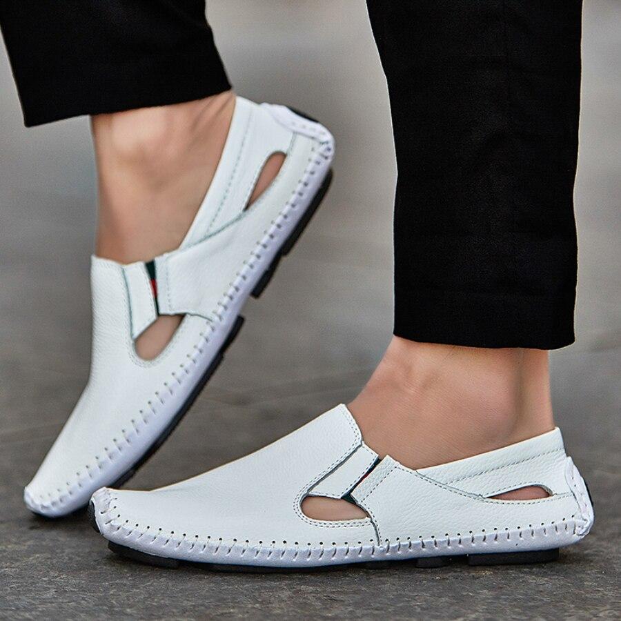 Männer Lederfahr Schuhe Plus Größe 45 46 47 Casual Slip-on Sommer Schuhe 5 Farben Größe 38-47