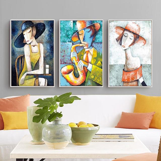 Elegant Lady Saxophone Gentlemen Picasso Style Art Print