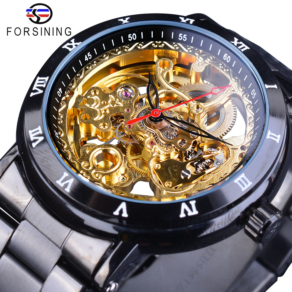 Forsining 2018 Retro Royal Flower Golden Skeleton Clock Red Black Pointers Stainless Steel Mens Automatic Watch