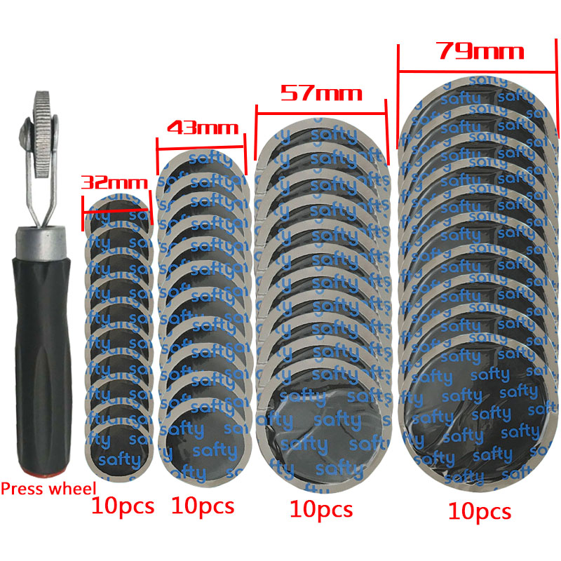 Tire Repair Compaction Roller Rubber Patch Repair Vehicle And Motorcycle 40pcs (32 Mm Plus 43 Mm Plus 57 Mm Plus 79mm)