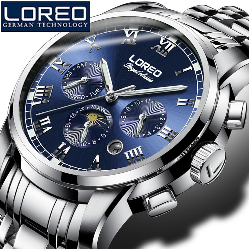 LOREO Sport Watch Men Luxury Skeleton Stainless Steel Mechanical Wristwatch Mens Fashion Luxury Top Brand Men Dress Watch K02 ik luxury fashion casual stainless steel men automatic mechanical watch skeleton watch for men s dress wristwatch free ship