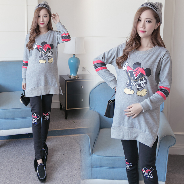 Plus Velvet Cotton Maternity Clothes Sets Winter T-shirt Breastfeeditee Nurse T-shirt Tees Gravidas Nursing Tees + Pants B393