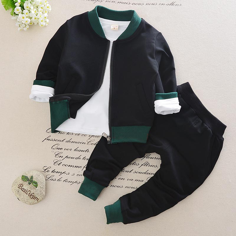 Kid Toddler Baby Boy Girl Clothing Sports Suit 3PCS Fashion Striped Boys Clothes Girl Kids Boy Clothing Set Shirt + Pants + Coat baby clothes summer baby boy girl suit rabbit t shirt striped strap pants kids clothes toddler children s clothing